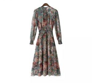 Robe chiffon rose-gris vert