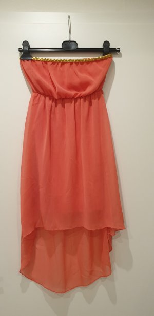 High Low Dress gold-colored-neon orange