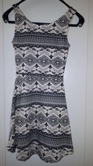 H&M Vestido elástico gris antracita-blanco puro
