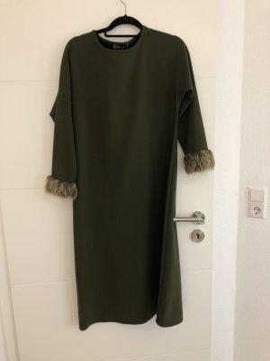 Vestido de tela de sudadera caqui
