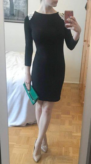 Kleid 34 XS S schwarz Bodycon spitze Schulterklappen Cocktail Schulter BPC sexy