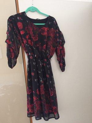 Chiffon jurk zwart-donkerrood