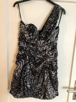 H&M One Shoulder Dress white-black