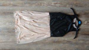 Kleid A-Linie nude mit Kunstleder Oberteil