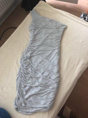 Eénschouderjurk lichtgrijs-zilver