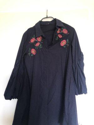 Zara Vestido tipo blusón azul oscuro-rojo frambuesa
