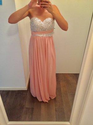 Kleid Abendkleid Ballkleid Rosé Glitzersteine elegant lang