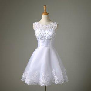 Kleid Abendkleid Cocktailkleid weiß Perlen Tüll Chiffon XS 34