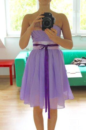 Kleid Abendkleid Lila Flieder Chiffon Schleife S 36 Silvester