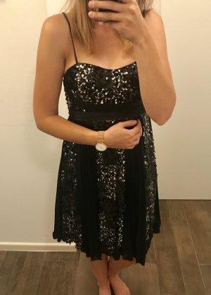 Kleid Abendkleid Pailetten schwarz mit Trägern kurz locker neu