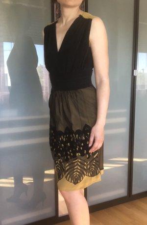 Alberta Ferretti Vestido de noche negro-color bronce Seda