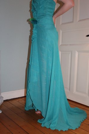 Robe à corsage bleuet-vert prairie
