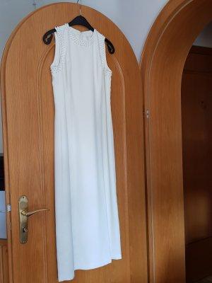 Kleid, ärmellos  , Farbe wollweiß, Stil elegant, handgenäht , knöchellang, Gr 36