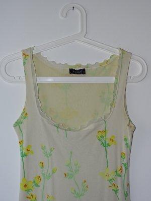 Kleid Ärmellos Rüschen Blumenprint Creme Gelb Orange XS Kookai (NP: 70€)