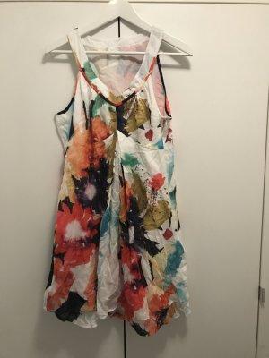 Kleid ärmellos V-Ausschnitt Muster Sommerkleid Bunt