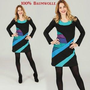 Kleid Alltags Büro Freizeit Patchwork Stretch Minikleid Gr.42-44
