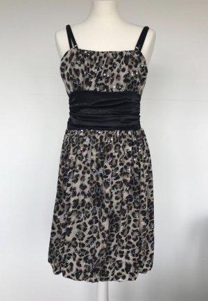 Kleid Animalprint Leo mit Pailletten & Schleife zum Binden