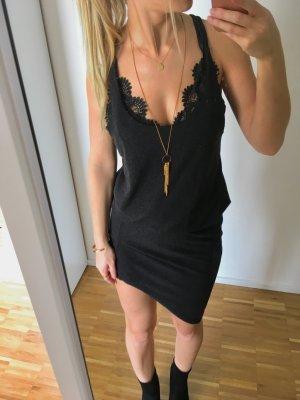 Kleid Asymmetrisch Grau Schwarz S 36 Drapiert