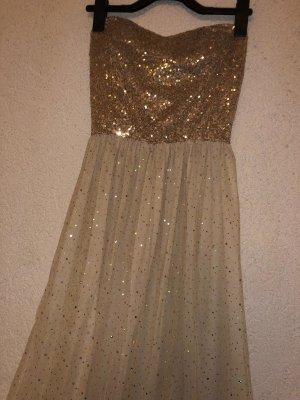 Kleid aus Mesh mit goldenem Paillettenbesatz