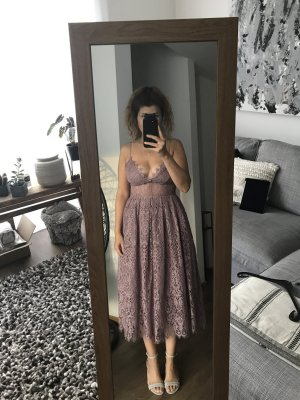 Asos Midi Dress mauve-rose-gold-coloured polyester