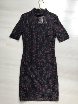 Selected Femme Lace Dress dark red-black