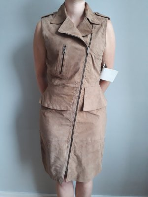 Kleid aus Veloursleder in Camel, Gr. 40