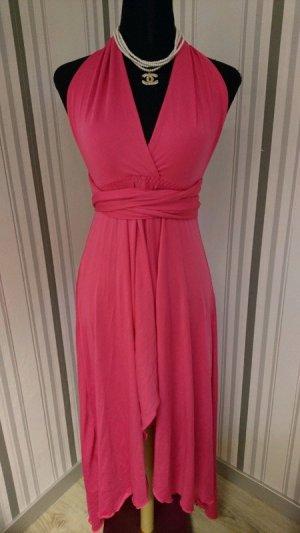 Vestido de cuello Halter rosa tejido mezclado