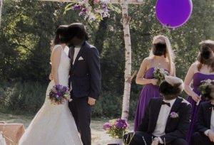 Kleid Ballkleid Abendkleid Abiball Hochzeit Bandeau kräftiges violett lila Größe 34