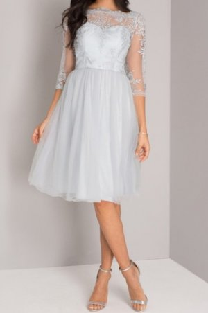 Kleid Ballkleid Cocktailkleid Spitze Hellblau Brautjungfer Chi chi London Größe 44