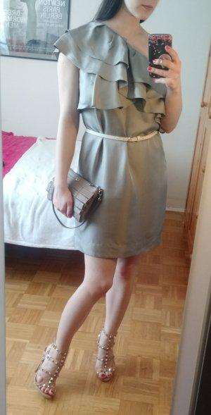 Kleid Banana Republic Gr 36 38 M Seide grau taupe silk luxus rüschen Seidenkleid