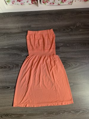 Kleid bandeau Lachs Muster Sommer schulterfrei rosa Pink