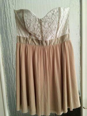 Kleid Bandeaukleid ASOS Gr. 40 Abendkleid Spitze Nude TOP