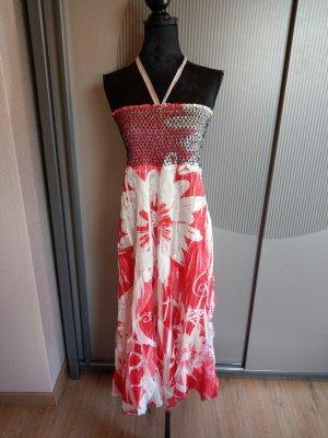 Kleid Bandeaukleid weiß pink Eme de Moda