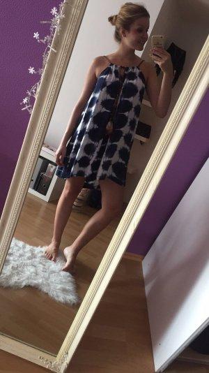 Kleid batik blau weiß mit Feder 36 S