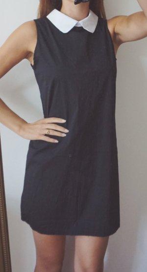 Kleid Baumwolle schwarz mit weißem Kragen elegant schick schlicht 12 38 M NEU