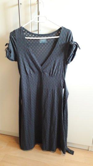 Kleid Baumwollkleid Midikleid dunkelblau mit Punkten