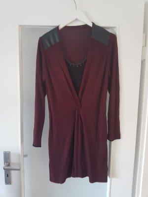Biba Vestido tejido negro-burdeos