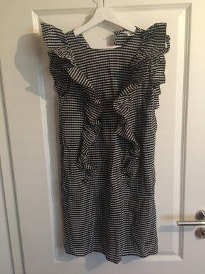 H&M Vestido estilo flounce negro-blanco