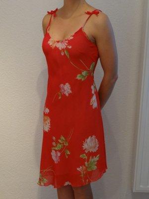 Kleid, Benneton taglia, Gr. S, rot mit Blumen