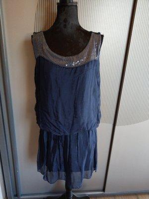 Kleid blau dunkelblau Pailletten Made in itlay