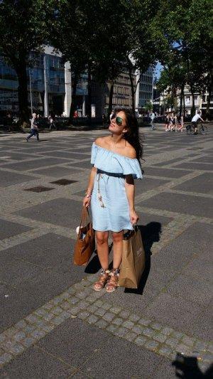 Kleid blau Jeans Jeanskleid off shoulder Volants blogger hipster boho M Festival