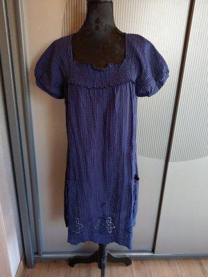 Kleid blau kariert Spitze liberty