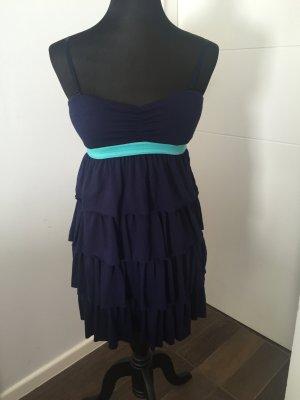 Kleid blau mit Gummiband Türkis Sommerkleid mit Spaghettiträgern