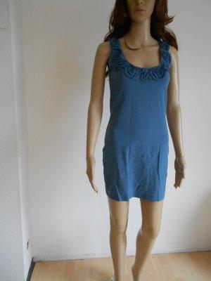 Kleid blau Rosenapplikation Größe S
