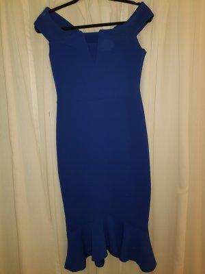 Kleid Blau Schulterfrei 36