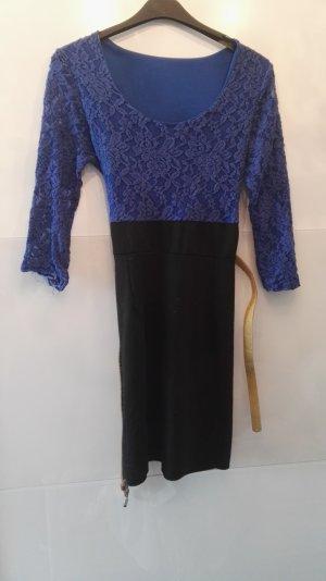 Kanten jurk zwart-blauw