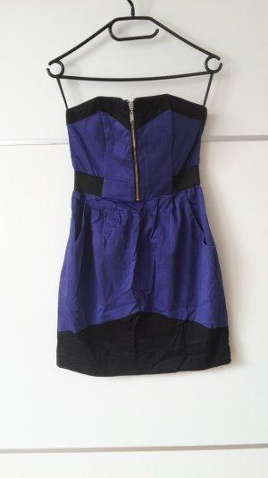Kleid blau schwarz Bandeau Minikleid