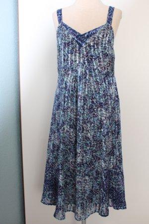 Kleid blau weiß Blumenprint Gr. 40/42 M L Midikleid knielang Freizeitkleid