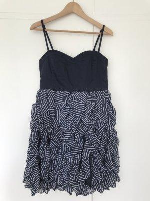 H&M Vestido babydoll azul oscuro-blanco
