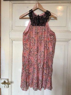 Kleid, Blümchen, grobe Spitze, 100% Seide (Größe 36)